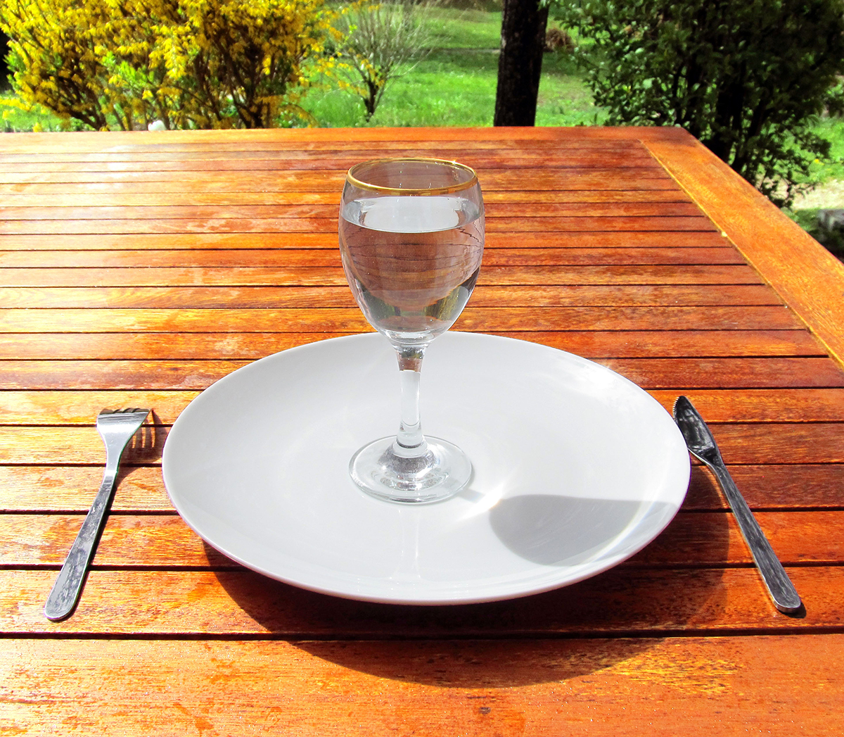 Fasting a glass of water on an empty-plate